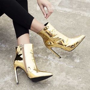 Tony Bianco Freddie Booties in Gold Metallic Shine